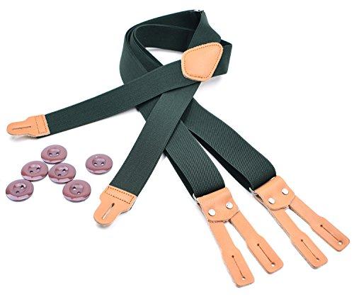 RIONA Tirantes clásicos de alta elasticidad con tirantes ajustables con respaldo en forma de X con extremo de botón de cuero, correa y trabajo pesado para Hombres Aceituna 49 pulgadas