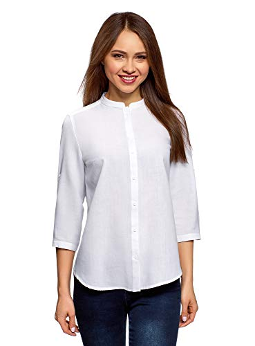oodji Collection Women's Cotton Stand Collar Shirt, White, 6