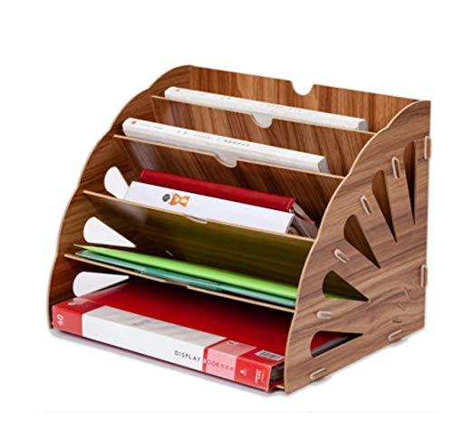 Schreibtisch organizer holz, Briefablage Papier Organizer,Stehsammler Zeitschriftensammler Schreibtisch Organizer,Stehsammler Lichtbogen,Zeitschriftensammler für Zuhause Schule (Braun)
