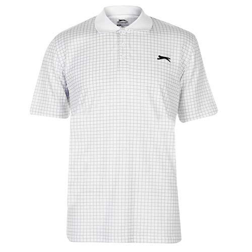 Slazenger Herren Golf Polo Shirt Kariert Kurzarm Weiß XL