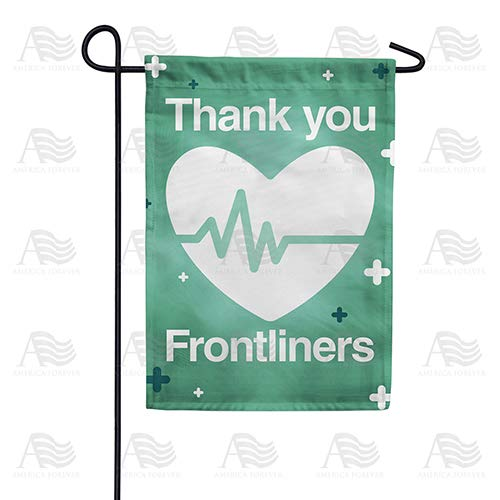 America Forever Flags Double Sided Garden Flag - Thank You Frontliners - 12.5' x 18', Thank You Healthcare Workers, Fight Against Covid-19 Coronavirus Pandemic Flag, Yard Outdoor Decor Flags