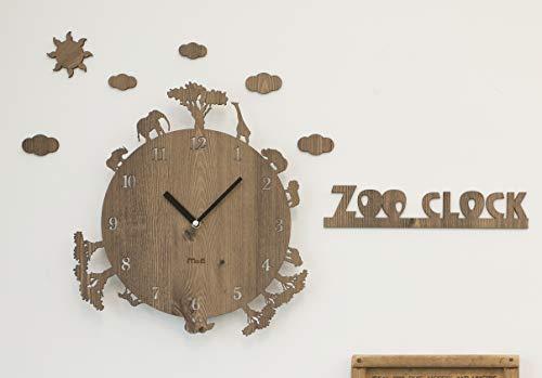 壁掛け時計 ZOO CLOCK 動物シリーズ (ライトブラウン)