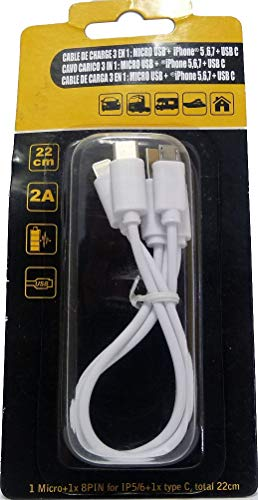 HTC Equipements Cable de Carga 3 en 1, 22 cm, 2 A, Micro USB, iPhone 6 y USB C