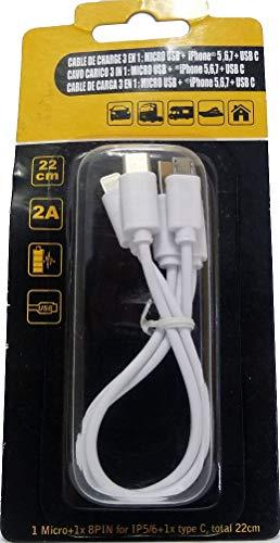HTC Equipements Cable de Carga 3 en 1, 22 cm, 2 A, Micro USB, iPhone 6 y USB C
