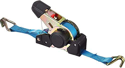 Connex Zurrgurt - Einteilig - 3,5 m x 25 mm - 600 kg maximale Belastbarkeit - Aufrollautomatik -Mit Spannratsche & Spitzhaken - Aus Polyester / Spanngurt / Ladungssicherung / Ratschengurt / DY270623