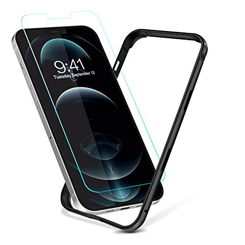 Bumper Designed for iPhone 12/12 Pro Case, Metal Slim Hard Frame Armor with Soft Inner Bumper Packed Tempered Glass Screen Protector [Zero Signal Interference] [Raised Edge Protection] (Black)