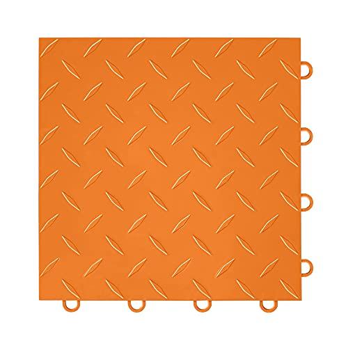 "IncStores ⅜ Inch Thick Nitro Interlocking Garage Floor Tiles | Plastic Floor Tiles for a Stronger and Safer Garage, Workshop, Shed, or Trailer | 12""x12"" Tiles, Diamond, Harley Orange, Pack of 52"