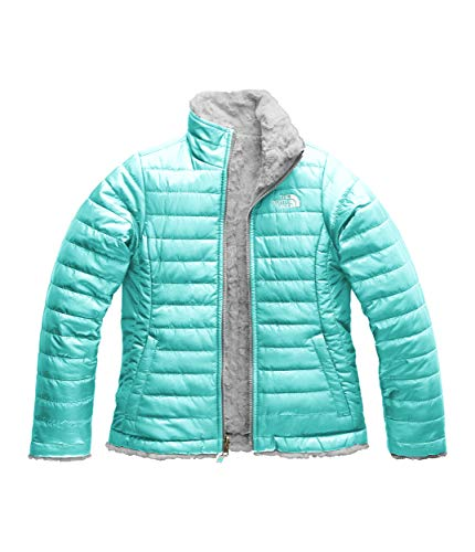 The North Face Girl's Reversible Mossbud Swirl Jacket - Mint Blue & Metallic Silver - XS