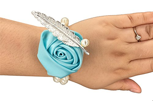 MOJUN Wedding Bridal Bridemaids Wrist Flower Satin Rose Pearl Wrist Band Corsage Suit Wedding Prom Party Decoration, Turquoise, Pack of 4