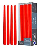 Hyoola 2 Pack Red Tall Taper Candles - 12 Inch Red Dripless, Unscented