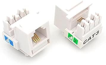 UbiGear 10 Pcs Lots Cat3 Rj11 6p4c Phone Telephone Keystone Jack Cat3 110 H-Style Modular White