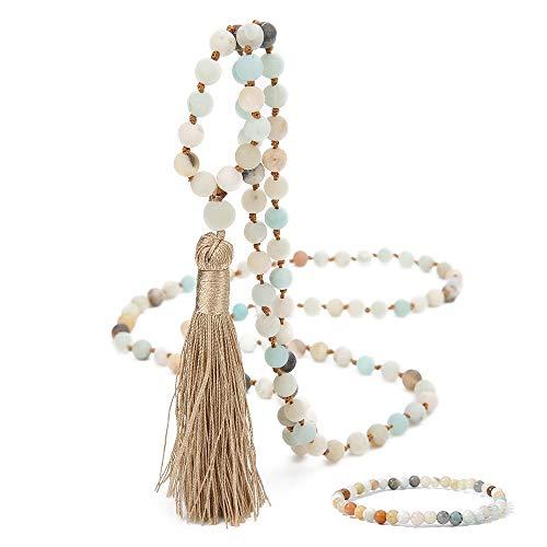 OAIITE 108 Natural Stone Beads Handmade Charm Personalized Stylish Beaded Tassel Necklace (B)