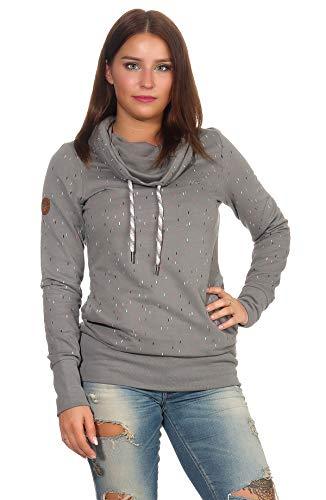 mazine Damen Sweatshirt Nebine Long Turtle Neck Stehkragen Langarmshirt Pullover Dark Grey/Sprinkle XL