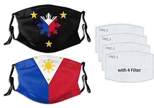 2Pcs Tribal Philippines Filipino Mask Sun and Stars Flag Face Mask Washable Adjustable with 4 Filters