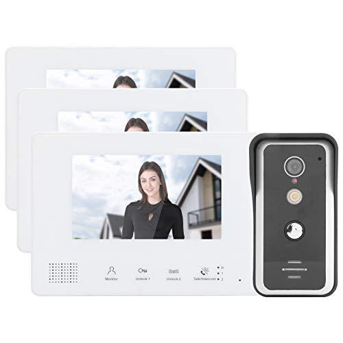 Sistema de 2 cables Kit de timbre con video TFT LCD de 7 pulgadas 3 monitores Videoportero Timbre con video Timbre con visión nocturna clara Intercomunicador doméstico Cámaras de puerta para seguridad