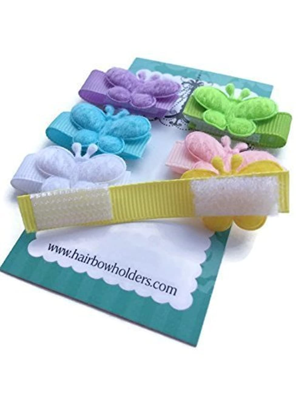 HAIR BOWS Made with VELCRO? brand fasteners for Baby Girl, BEST BABY SHOWER GIFT, Small Soft BUTTERFLY velcro bows, butterflies, pink, lavender, green, white, yellow, blue, Little Bows
