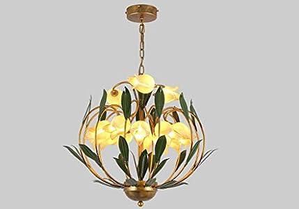 Lustre elegante de estilo floral con 15luces art décor (hojas Metal colgante clásico Forma de flores tulipa en cristal de mano de dormitorio boutique blanco cálido 62* 56cm G9* 15