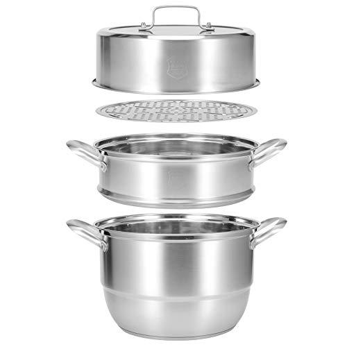 Dampfkocher,Gardampfkochtopf Set Edelstahl 3 Etagen Dampfgarer Manti-Topf in Steam Pot Food Steamer mit BelüFteter Glasabdeckung Mantowarka