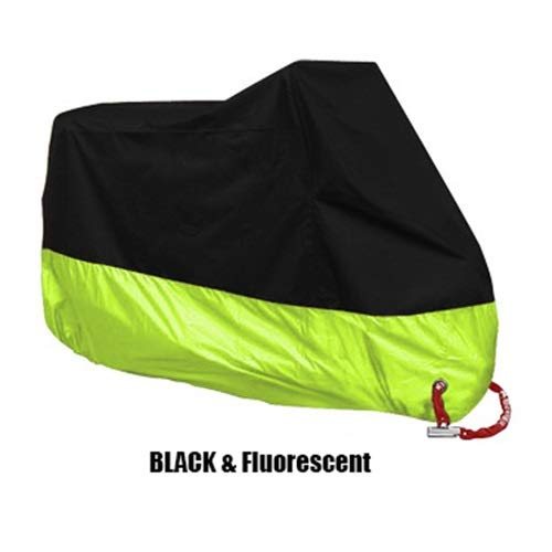 WSWJJXB UV Protection Cover Motorcycle Rain Cover Outdoor Waterproof Motorcycle Boot Scooters Four Seasons (Color : Black Fluorescent, Size : 4XL 231 260cm)