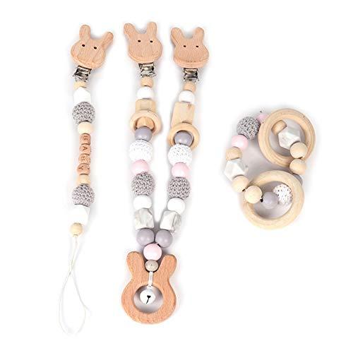 N|A Yuanshenortey - Juego de 3 anillos mordedores de madera para bebé, con cadena para cochecito de bebé, con colgante con sonajero, ideal para niños pequeños, para masticar, juguetes de cumpleaños