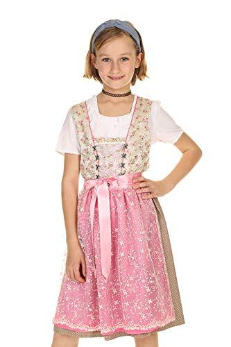 Isar-Trachten Kinder Dirndl festlich, Mädchendirndl mit Spitzenschürze 3-teilig 43340 lindgrün Gr.128