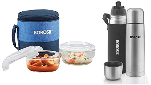 Borosil - Prime Universal Glass Lunch Box Set of 4, (320 ml Sq. + 240 ml Round) Microwave Safe Office Tiffin