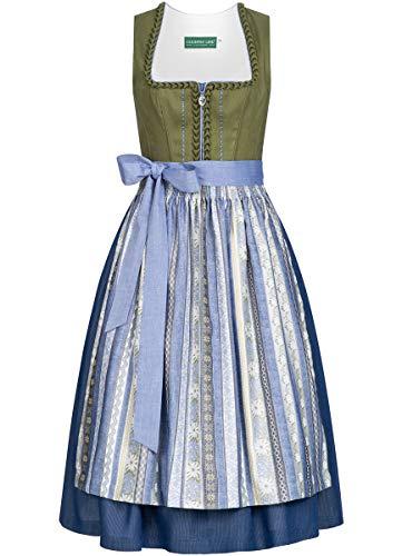 Country-Line Damen Trachten-Mode Midi Dirndl Gerlinde in Grün traditionell, Größe:42, Farbe:Grün