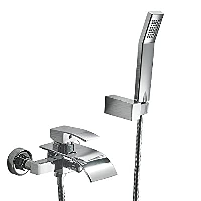 Greenspring Waterfall Wall Mount Faucet With Shower Head Bath Tub Mixer Taps Lavatory Bath Shower Faucet With Shower Arm Mount Hole Commercial Bathroom Shower System Set Ceramic Valve Included