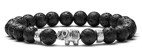 Hamoery Men Women 8mm Lava Stone Essential Oil Diffuser Bracelet Elastic Natural Stone Aromatherapy Anxiety Bracelet Bangle,Elephant(Lava Stone)