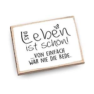 Handmade Magnet aus Buchenholz mit Spruch | Das Leben ist schön. Von einfach war nie die Rede.