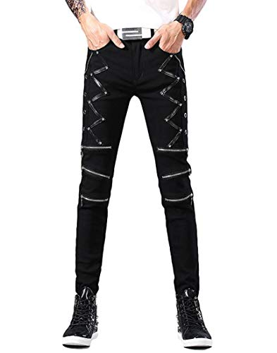 Idopy Men`s Punk Gothic Night Club Party Buckles Motorcycle Pants Biker Jeans (36, Black 1610)