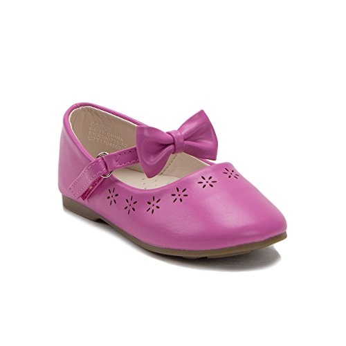 J'aime Aldo Toddler Girls Designer Mary Jane Bow Strap Round Toe Ballet Flats Shoes, Fuchsia, 8