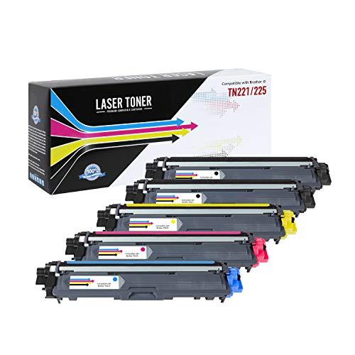 Calitoner TN225(5pk) - Cartucho de tóner láser Compatible para impresoras MFC-9130CW, MFC-9330CDW, MFC-9340CDW, HL-3140CW,...