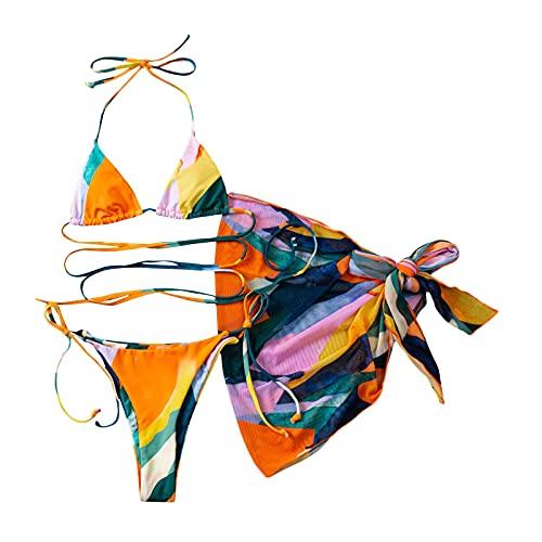 Bañador de mujer de 3 piezas con falda de playa oculta amarillo XL