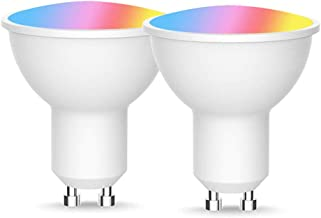 LED WiFi Smart Lamp GU10 Bulb RGB 5W Dimmable Remote Control Bulbs Timing Function,2pc