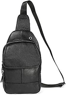 Fashion Single-Shoulder Bags 6023 Casual Litchi Texture Soft Face Genuine Leather One Shoulder Crossbody Bag for Men(Black) (Color : Black)