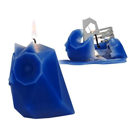 PyroPet Kerze - überraschende Tierkerze mit Skelett, Eule »Ugla« Electric Blue/Blau