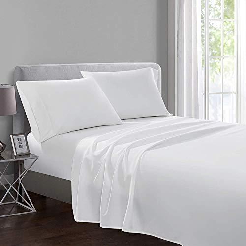 Yorkshire Bedding Bettlaken aus 100 % ägyptischer Baumwolle, weiß, Doppelbett mit Fadenzahl 200, Hotelqualität (225 cm x 275 cm)