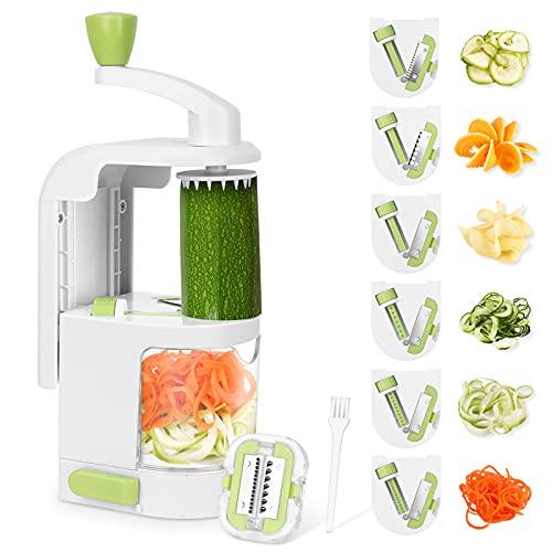 Espiralizador de Verduras Cortador de Verduras, Espiralizador de Vegetales MultiFunción 6 Cuchillas, Espiralizador de Picar Frutas, Verduras, Zanahorias, Cebollas, para la Salsa, Ensalada