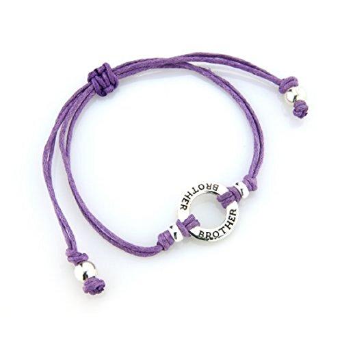 Joolz Friendship Bracelet 925 Silver with 'Brother' inscribed Purple Cotton Bracelet