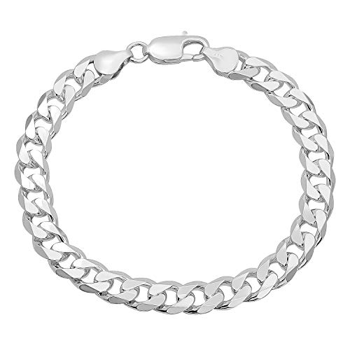 Men's 8.5mm .925 Sterling Silver Beveled Curb Curb Chain Link Bracelet, 8 inches + Jewelry Cloth & Pouch