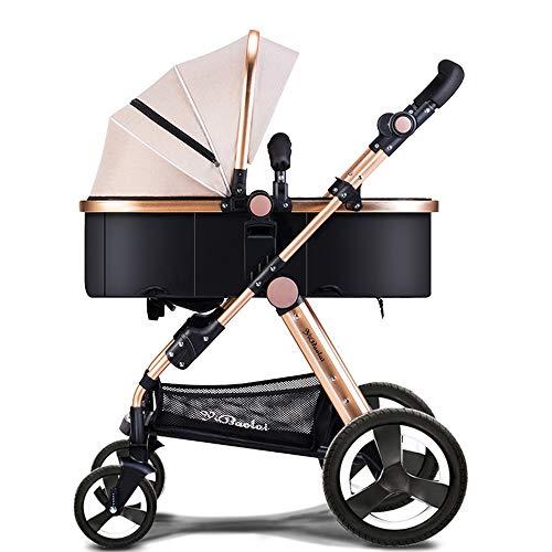 Faltender Kinderwagen, Kinderwagen, kann im Winter und im Sommer sitzen Babykinderwagen, Leichter Kinderwagen, hochkarätiger Kinderwagen (Farbe : Khaki)