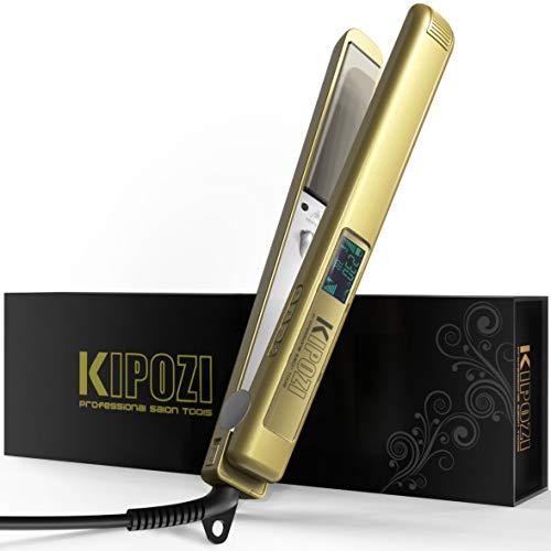 KIPOZI Lisseur Cheveux Fer à Lisser Professionnel Plaque Titane Anti frisottis à Ecran LCD et Fonction Multi-voltage (Doré)