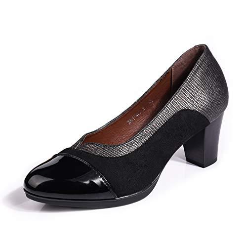 H&L HUALUNAOTE Pumps Schwarz Damen, Vintage Elegant Blcokabsatz Schuhe 36-41