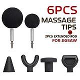 Adaptador y puntas de masaje Jigsaw Masaje, 6 piezas de adaptador de punta de masajeador de percusión, con 2 varillas extendidas, para masajeador de rompecabezas (6 piezas/juego)