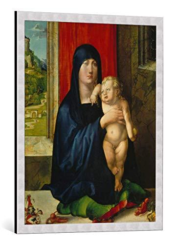 Kunst für Alle Cuadro con Marco: Albrecht Dürer Maria mit Dem Kind Am Fenster - Madonna Der Familie Haller - Impresión artística Decorativa con Marco, 65x85 cm, Plata cepillada