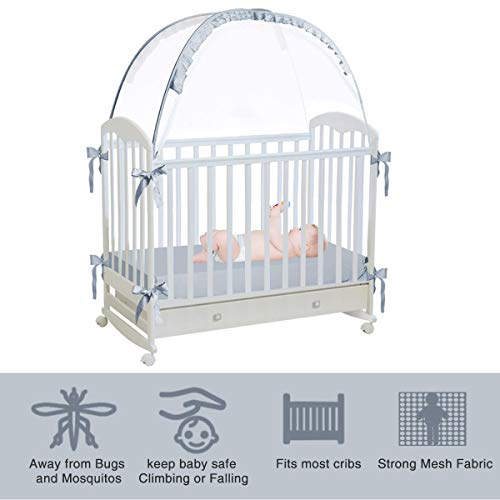 RUNNZER Baby Crib Safety Pop Up Tent, Crib Net to Keep Baby in, Crib Canopy Cover to Keep Baby from Climbing Out
