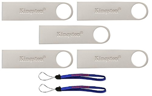 Kingston (TM) Digital 16GB DTSE9 G2 Data Traveler 5 Pack 3.0 USB High Speed Flash Drive with (2) Everything But Stromboli (TM) Lanyards