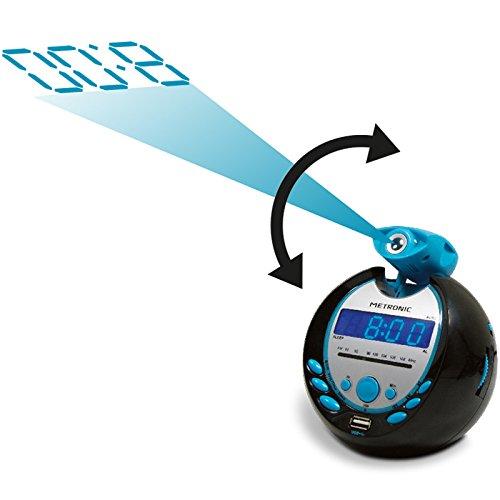 Metronic 477016 Sportsman Radio-réveil avec port USB - Noir et Bleu