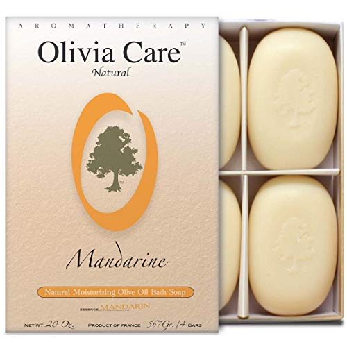 Olivia Care Bath & Body Bar Mandarin Soap | 4 Pack Gift Box | Organic, Vegan & Natural | Contains Olive Oil | Repairs, Hydrates, Moisturizes & Deep Cleans | Good for Sensitive Dry Skin | Made in USA